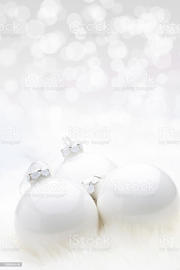 White Christmas Babules with bokeh background stock photo