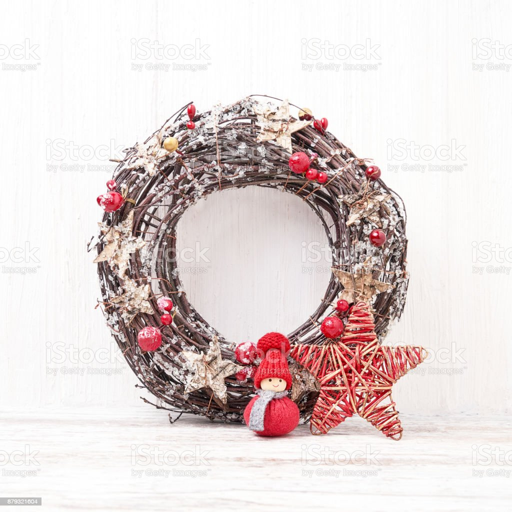 White Christmas background.  Christmas wreath with decoration. Copy space stock photo