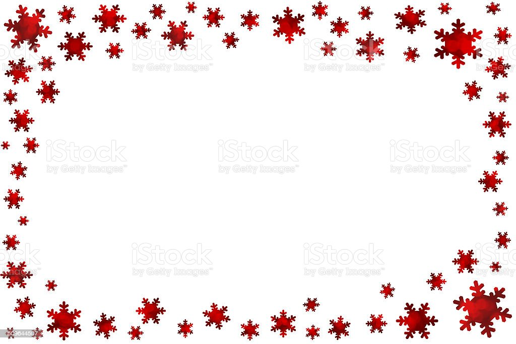 white christmas background with red snowflakes frame royalty free stock photo