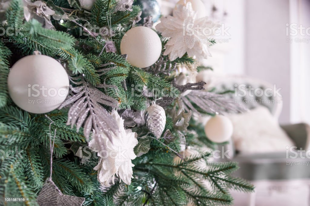 White Christmas Balls For Christmas Tree Scandinavian Style Design For Living Room Happy New Year Winter Decor Concept Winter Holidays Bright Decoration Christmas Still Life With White And Silver Ornaments Stock Photo