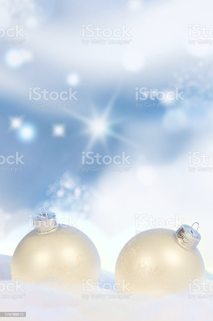 White Christmas Baubles royalty-free stock photo