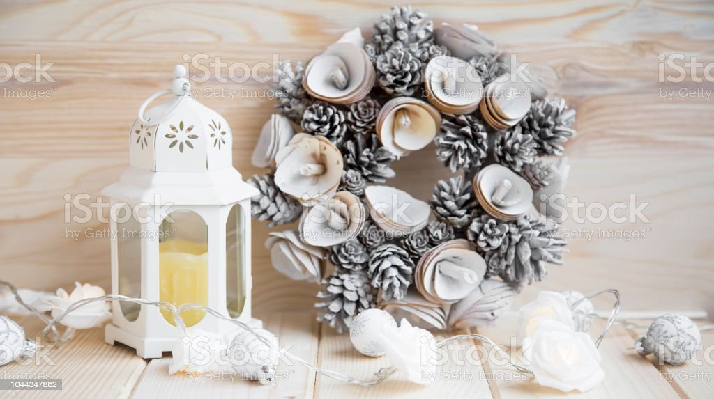 White Christmas Decorations With Lantern And Wreath Winter Seasonal Decorations Stock Photo Download Image Now Istock