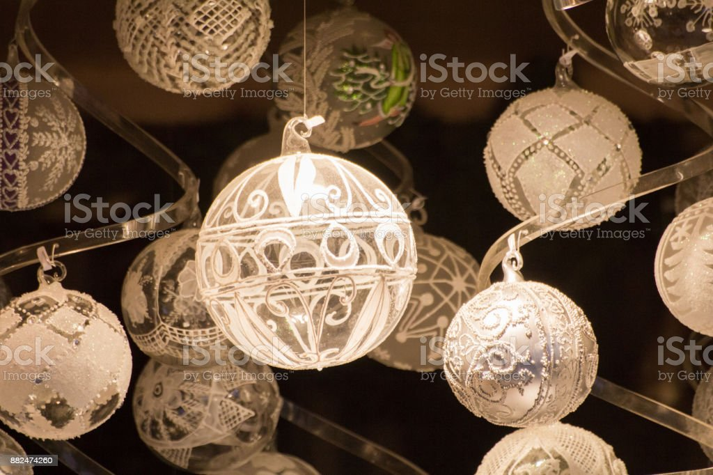 White Christmas globes on dark background royalty-free stock photo