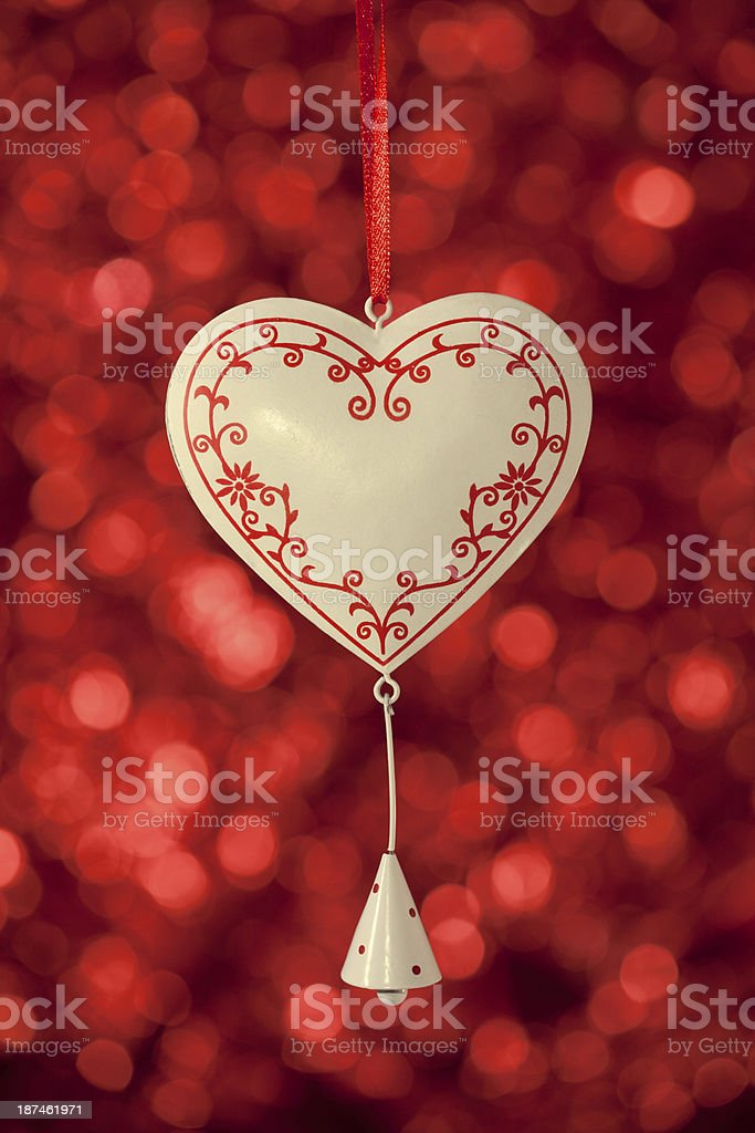 white christmas heart with bell royalty-free stock photo