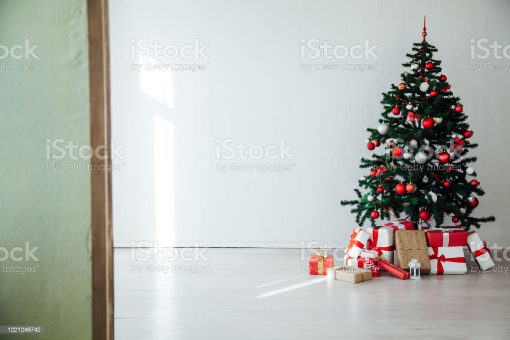 White Christmas Home Interior Christmas Tree Red Gifts New Year Decor Festive Background Stock Photo Download Image Now Istock