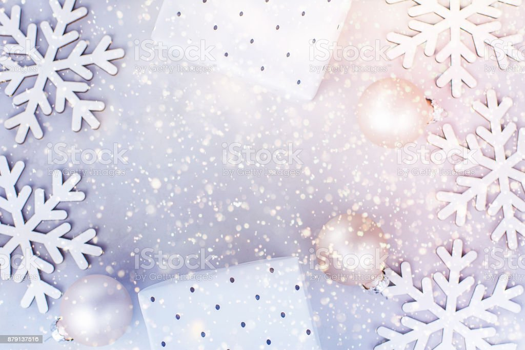 White Christmas Snow Background.White Christmas New Year Frame Banner Background Snow Flakes