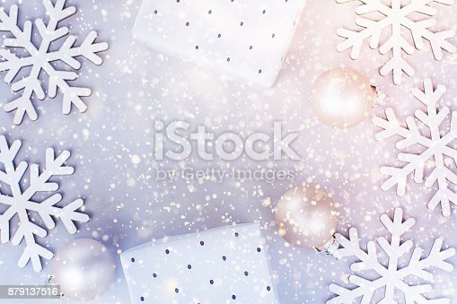 istock White Christmas New Year Frame Banner Background Snow Flakes Baubles Gift Boxes Colorful Confetti Glitter Lights Greeting Card Poster Template Copy Space 879137516
