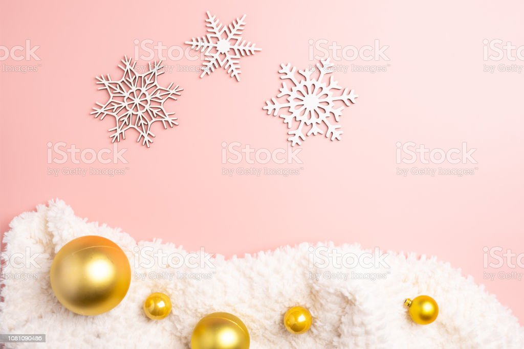 white christmas snowflakes decoration on pink background christmas picture id1081090486