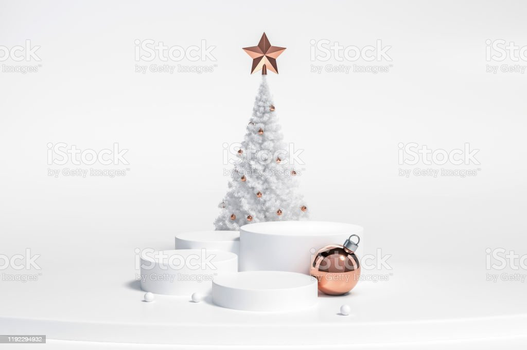 White Christmas Tree And Metallic Rose Gold Silver Decoration Object Group With Podium Display Stand On White Background 3d Rendering Stock Photo Download Image Now Istock