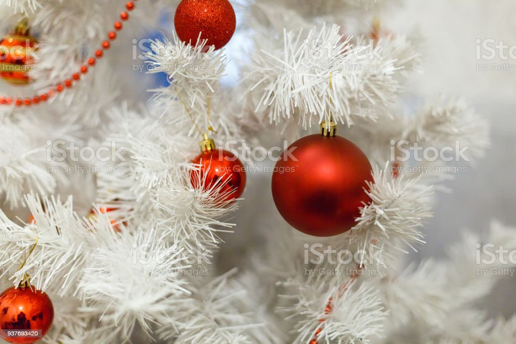 White Christmas Tree And Red Balls Stock Photo More Pictures Of