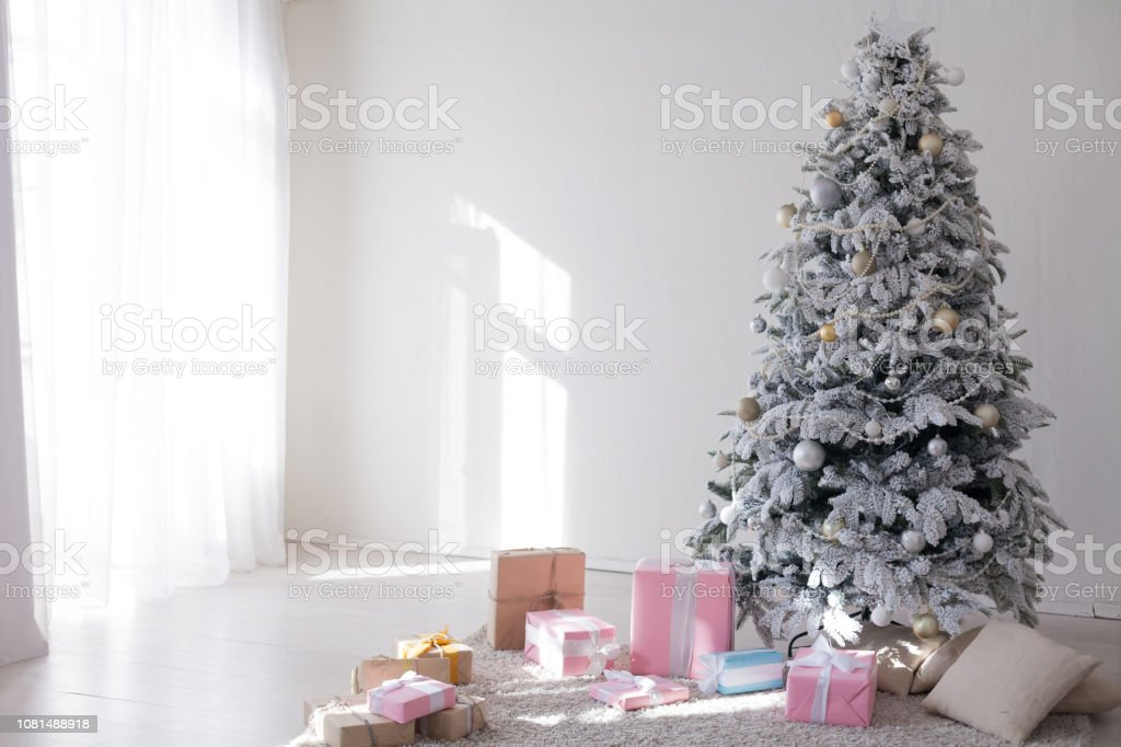 White Christmas Tree Decorating New Year Gifts Interior Holiday Winter Stock Photo Download Image Now Istock