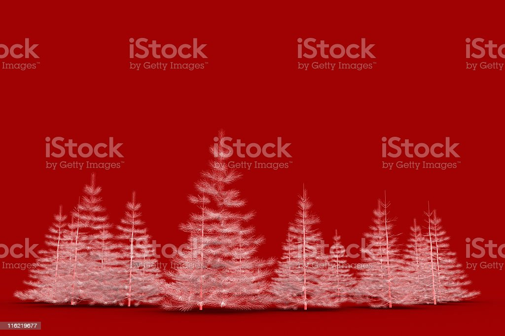 3D white christmas tree isolated on red background royalty-free stock photo