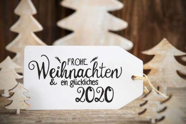 White Christmas Tree, Label, Glueckliches 2020 Means Happy 2020 – Foto