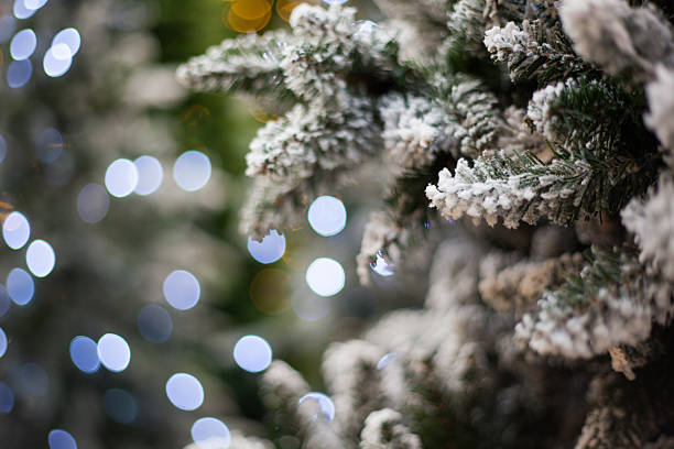 white christmas tree with bokeh lights stock photo