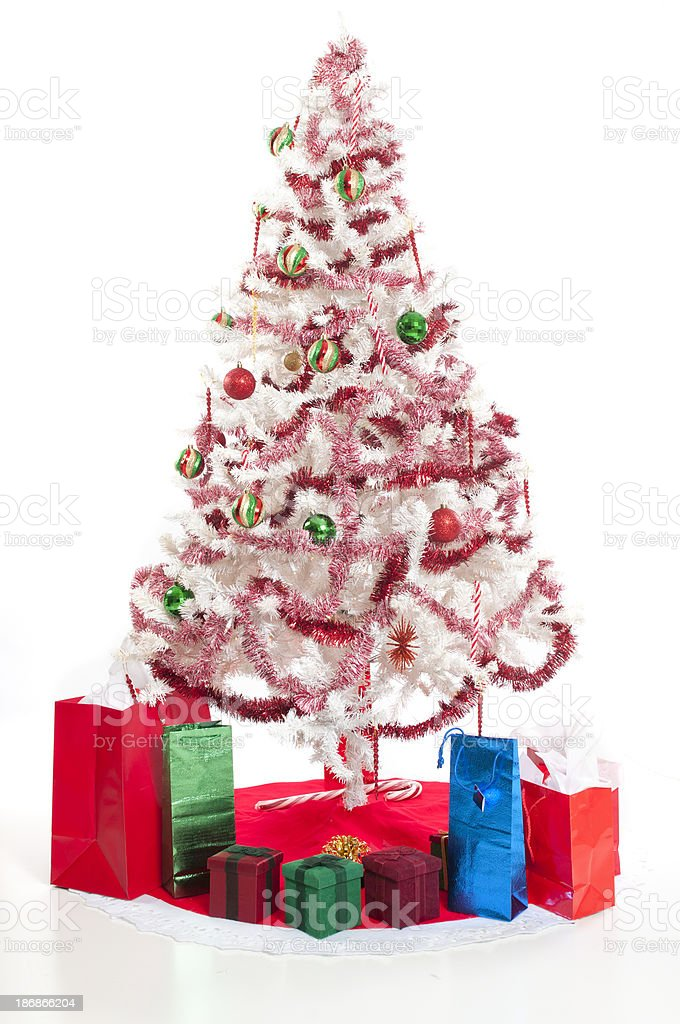White Christmas Tree with Gifts royalty-free stock photo