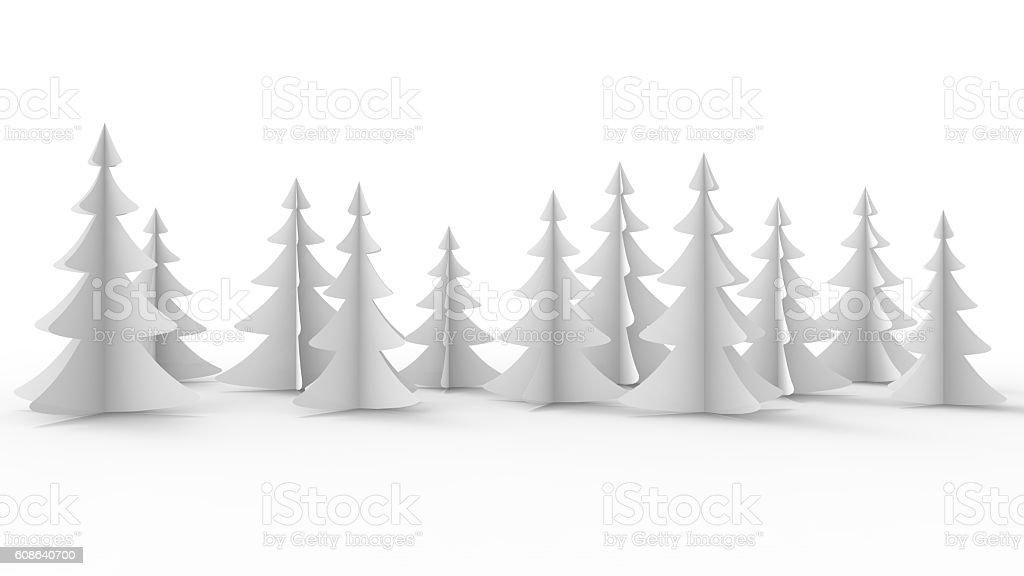 White Christmas Trees stock photo