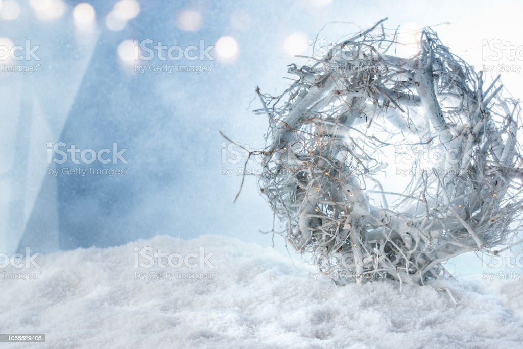 White Christmas In Germany.White Christmas Wreath In The Snow Stock Photo More
