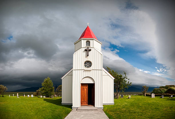 White church and cemetery in Iceland stock photo