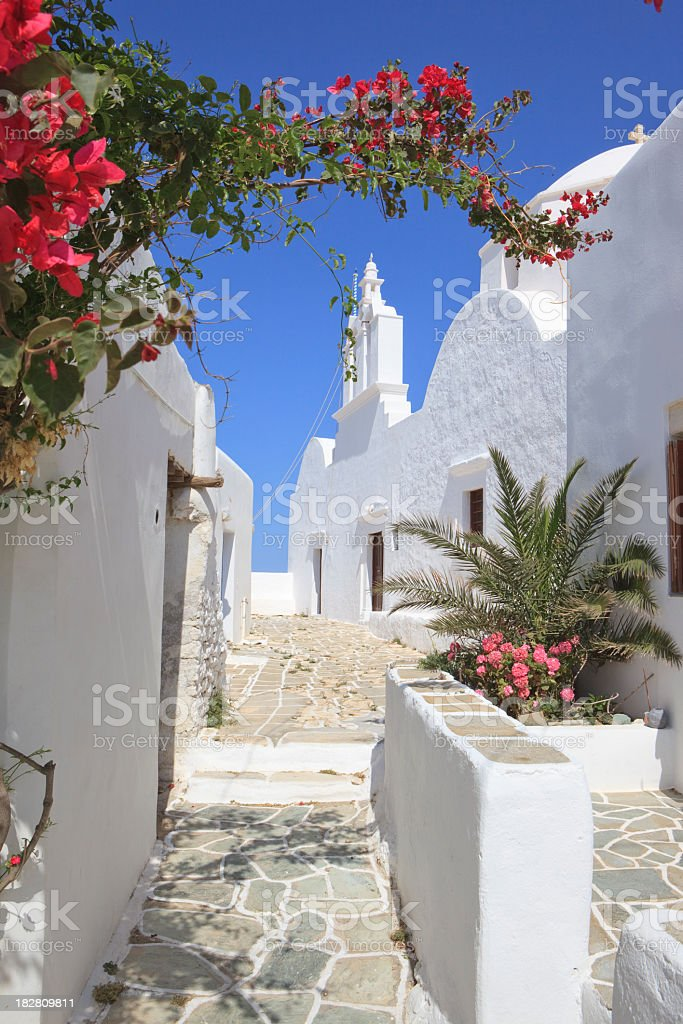 White church and house on the Cyclades stock photo