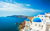 istock White church in Oia town on Santorini island in Greece 475124388