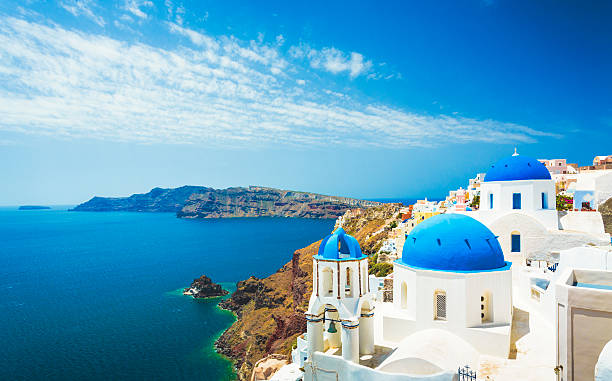 White church in Oia town on Santorini island in Greece stock photo