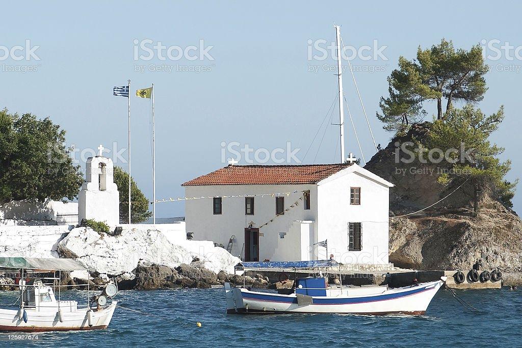White Church In Parga stock photo