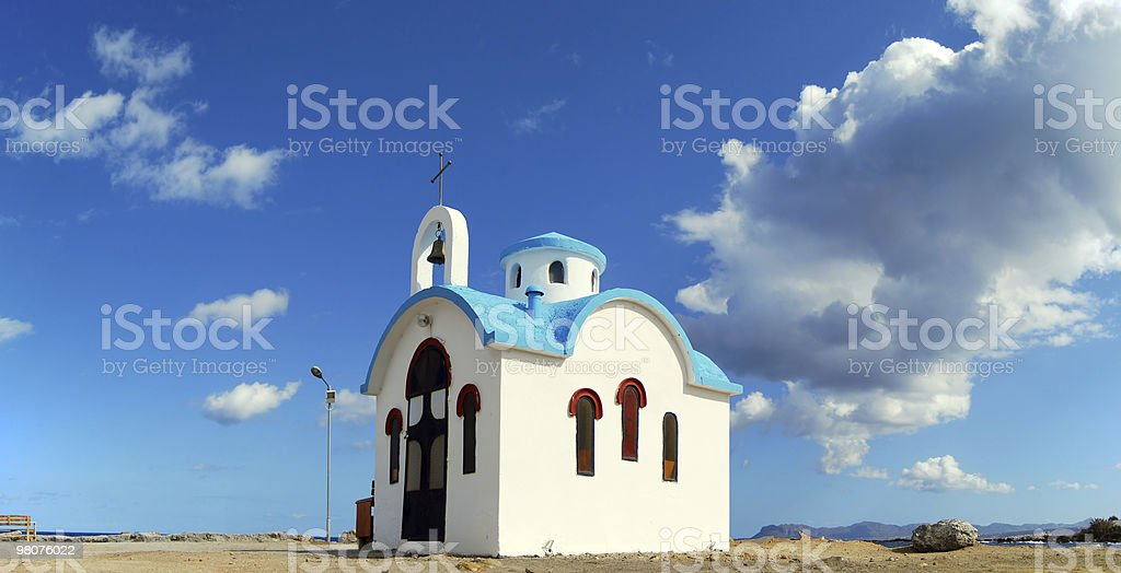 Chiesa bianca a Creta panorama foto stock royalty-free