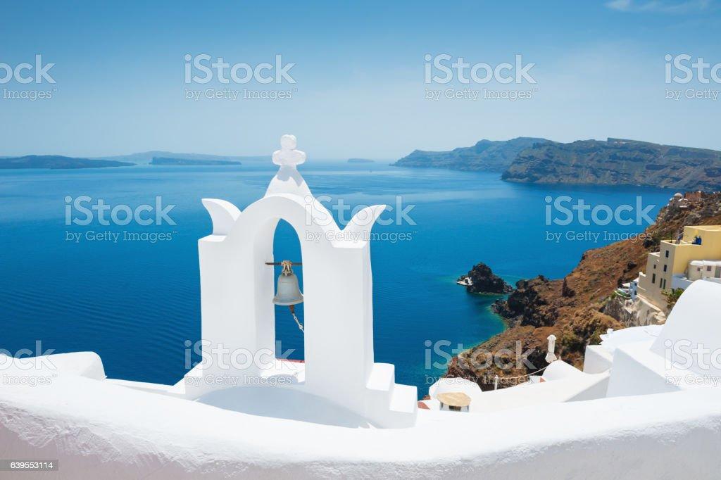 White church on Santorini island, Greece. stock photo