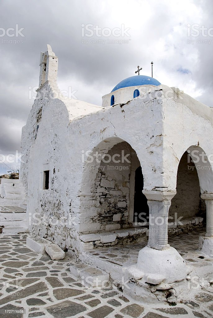 White church under a dramatic sky royalty-free stock photo