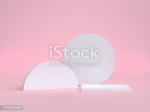 istock white circle and semi-circle geometric shape 3d rendering pink background 1019223432