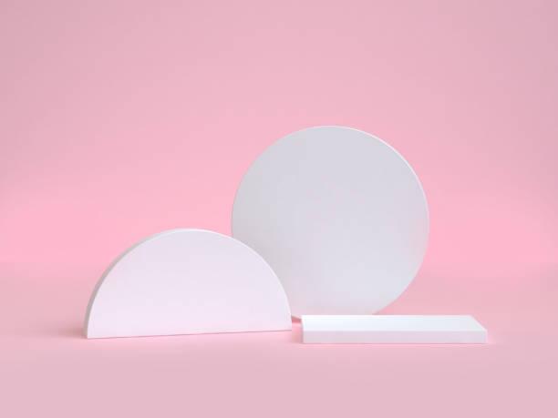 cercle blanc et demi-cercle rendu 3d de forme géométrique rose fond - demi cercle photos et images de collection