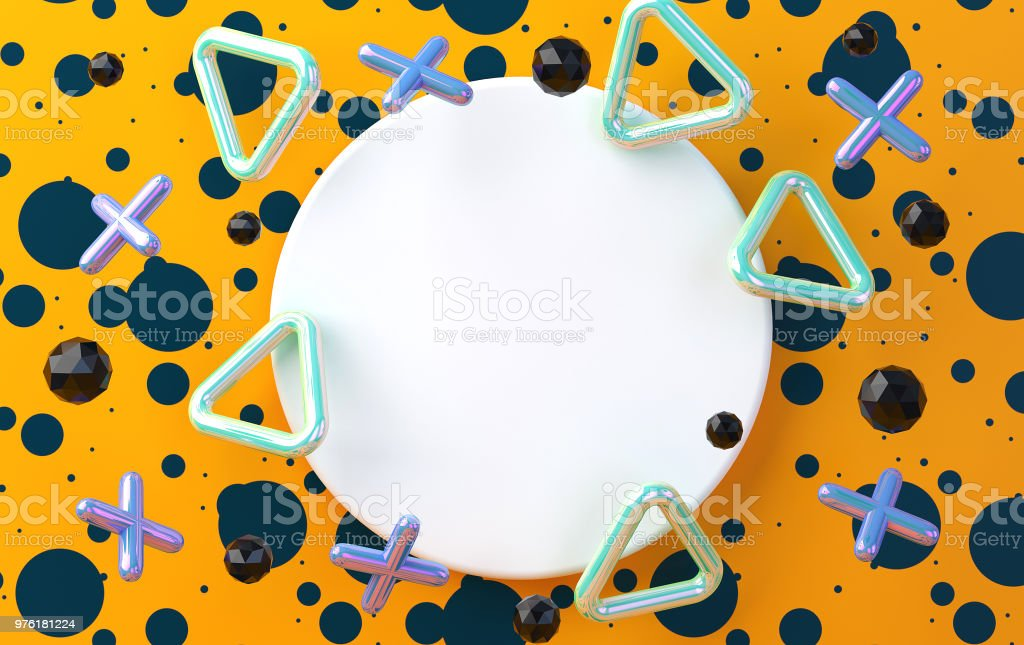 White circle on an orange background with smoothed crosses and triangles, a background with blue blots, a holographic foil,  render stock photo