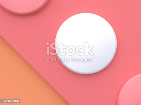 istock white circle shape pink floor tilted abstract minimal background 3d rendering 947096566