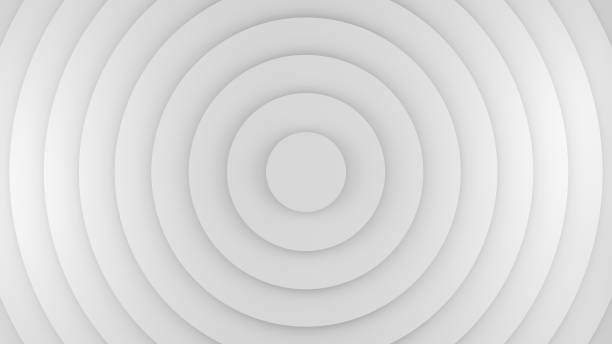 White circles abstract 3D rendering - foto stock