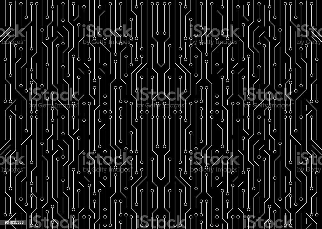 White circuit board on black background. High-tech technology background. Seamless texture pattern. illustration. royalty-free stock photo