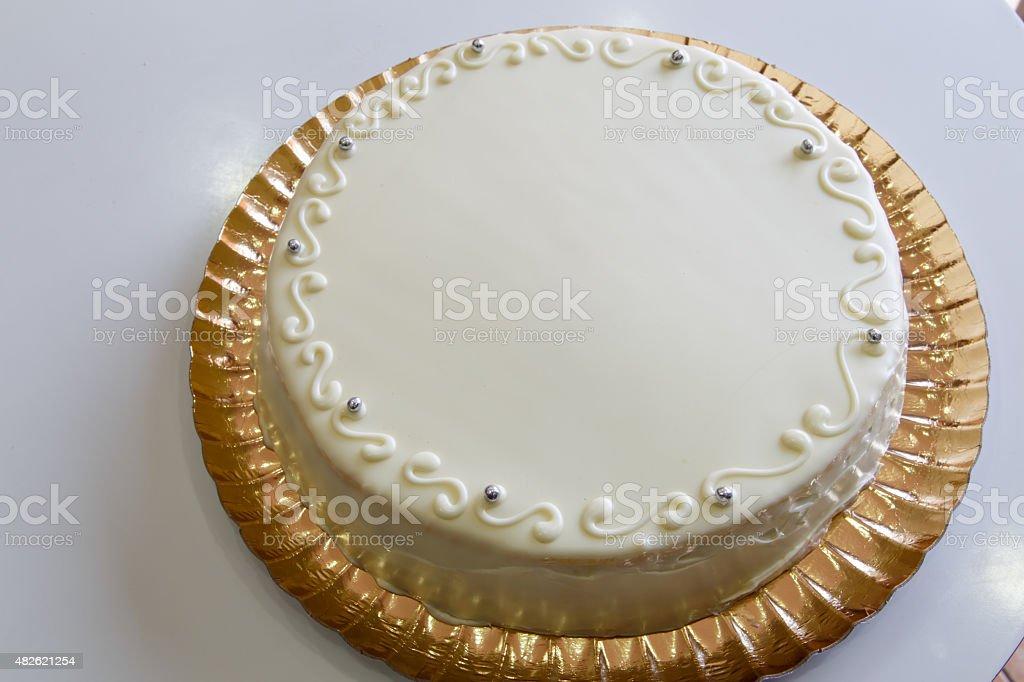 white circular cake closeup stock photo