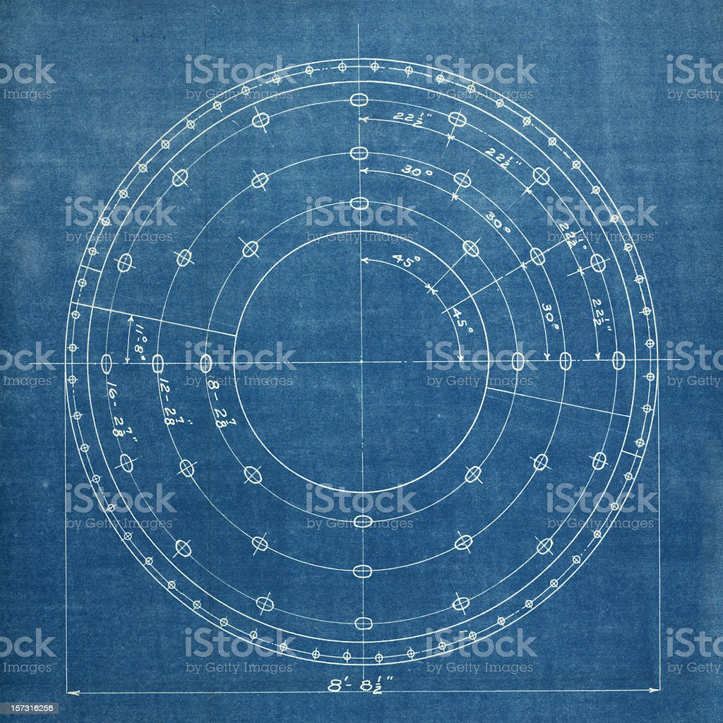 A white circular drawing on a blue background  royalty-free stock photo