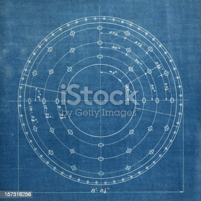 vintage blueprint background of a circular equipment schematic.altered to make more generic.