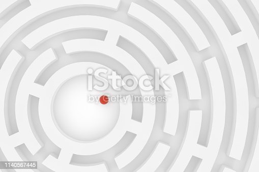 istock 3D white circular maze, labyrinth background 1140567445