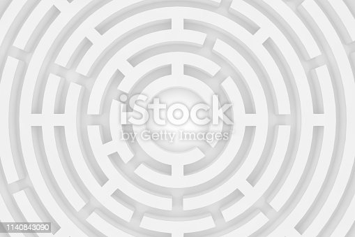 istock 3D white circular maze, labyrinth background 1140843090