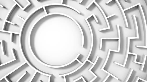 white circular maze structure - maze stock photos and pictures
