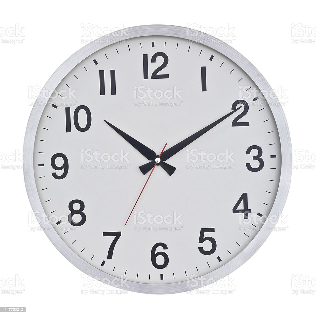 A white circular wall clock with black numbers royalty-free stock photo