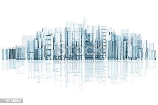istock White city skyline - 3D illustration 1130239342