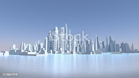 istock White city with wire frame, abstract city, future city. 3D rendering 1215647076