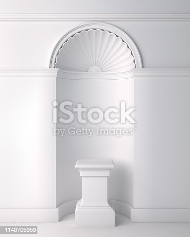 istock White classic pedestal podium for product display mock up. 1140705959