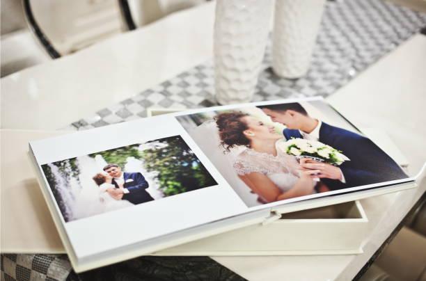 White classic wedding book and album stock photo