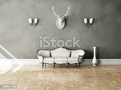 istock White classical style sofa in vintage room 499541156
