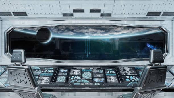 weißes sauberes raumschiff-innenmit blick auf den planeten earth 3d rendering - eingangshalle wohngebäude innenansicht stock-fotos und bilder