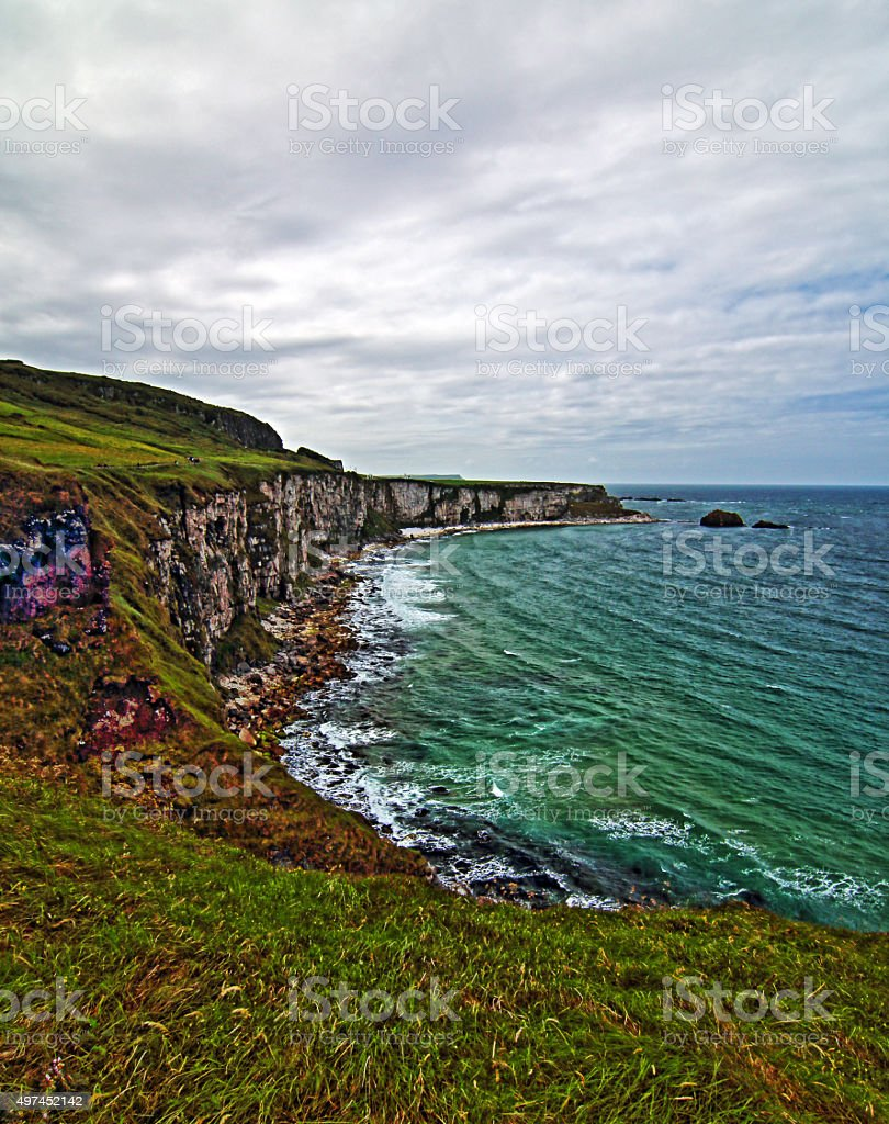 White Cliffs along Irish Coast next to Carrick-a-rede stock photo