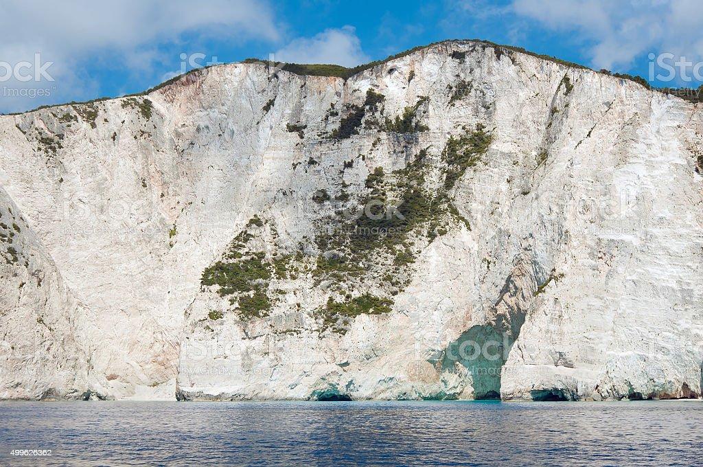 White cliffs near Navagio Beach in Zakynthos Greece stock photo